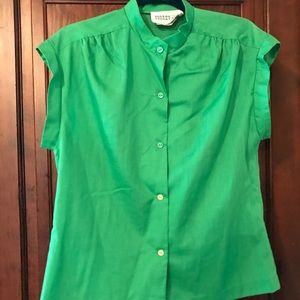 Vintage Green Button-Down Blouse